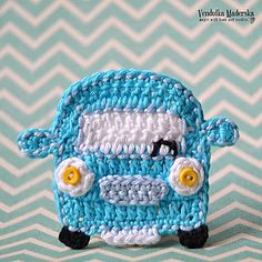 FUNNY CAR applique by Vendula Maderska on Ravelry ~ BEGINNER level ~ step-by-step instructions ~ CROCHET