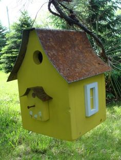 Birdhouse Industrial Home n Garden Recycled by baconsquarefarm, $35.00