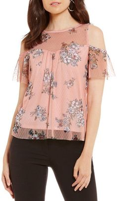 I.N. San Francisco Floral Print Mesh Cold Shoulder Top