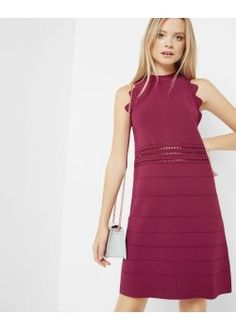 Ted Baker Scallop Detail Ribbed Dress Oxblood
