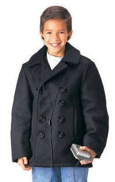 ROTHCO KIDS U.S. NAVY TYPE WOOL PEACOAT - BLACK - S Available in other sizes & styles. Check my other listings.. U.S. MADE. ONE INTERIOR POCKET. NYLON LINED. Durable.  #Rothco #BISS