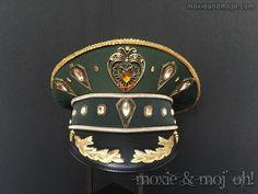 "Captain's Hat: ""Green & Gold"" ~ perfect for Festivals, Coachella, Desert Hearts and Burning Man by MoxieandMojoFashion on Etsy"