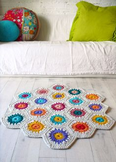 My dream as a preschool teacher: A rug that is big enough to fit up to 18 students comfortably, while still allowing them a designated space. If I find the time over the summer I would love to try and make something like this for my classroom.