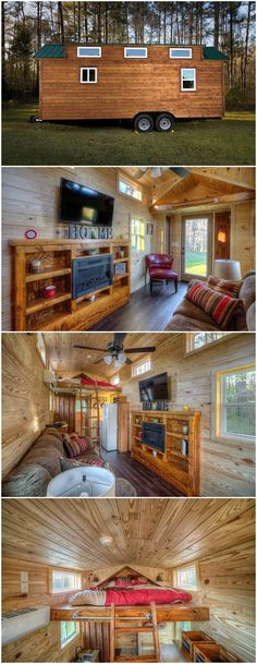 The Dreamer is a nice tiny house built by Alabama Tiny Homes.  With its lap wood siding and full wood interior, this 24′ house would make for a perfect mountain cabin retreat. It is 208-square-feet on the main floor with approximately 80 more square feet for the bedroom loft.  The living room includes a built-in entertainment center with electric fireplace, 48″ LCD TV, and a full size couch for a comfortable seating area.