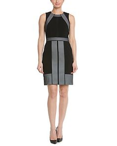Adrianna Papell Color Blocked Bonded mesh Sheath