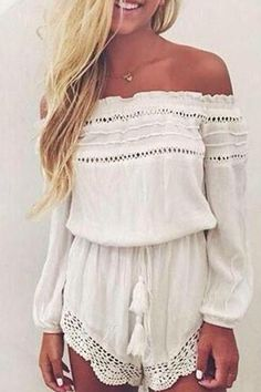 White Sexy Off Shoulder Lace Details Playsuit