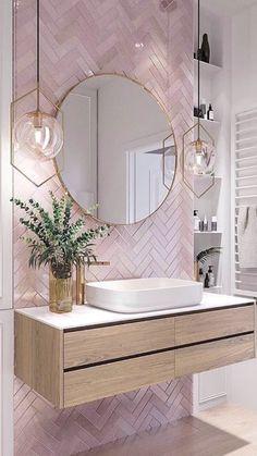 Elegant and luxurious bathroom design ideas for stylish decor -. - Elegant and luxurious bathroom design ideas for stylish decor – - Pink Bathroom Tiles, Pink Tiles, White Tiles, Pink Bathrooms, Dream Bathrooms, Master Bathrooms, Bathroom Wallpaper Pink, Grey Marble Bathroom, Zebra Bathroom