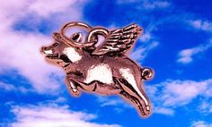 Rose gold plated real sterling silver 925 when pigs fly flying wings charm pendant wing jewelry. $19.94, via Etsy.