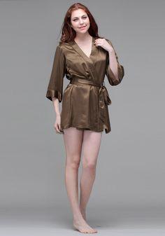 Silk women nightwear robes--Brown robes #Silk #robes | Revesilk.com