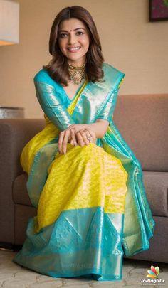 Beautiful Indian Actress Kajal Aggarwal In Yellow Saree Pattu Saree Blouse Designs, Half Saree Designs, Saree Blouse Patterns, Indian Bridal Sarees, Bridal Silk Saree, Indian Beauty Saree, Saree Wedding, Wedding Wear, Organza Saree