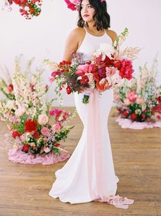 Nothing we love more than colorful wedding ideas! And this microwedding inspiration with layers upon layers of pink is a color lovers dream. With cloud-like floral installations and velvet table linens, botanical headpieces and sexy bridal fashion, these intimate wedding ideas will have you smiling from ear to ear in no time. See the full inspo on Ruffled now! #microweddingideas #fuchsiawedding #floralinstallations Peony Bouquet Wedding, Wedding Dress Cake, Pink Bouquet, Wedding Flower Arrangements, Bride Bouquets, Bridesmaid Bouquet, Winter Wedding Flowers, Wedding Colors, Wedding Designs