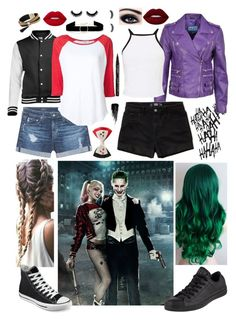 """""""Harley and Joker"""" by powermovesonly on Polyvore featuring AG Adriano Goldschmied, Anissa Kermiche, Frame, Converse, Simons, Hollister Co., Lime Crime, Miss Selfridge, Smith & Cult and Urban Decay"""