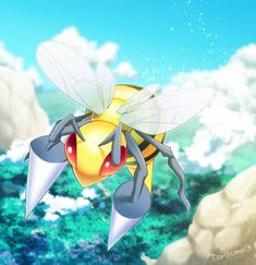 Beedrill - A Beedrill is extremely territorial. For safety reasons, no one should ever approach its nest. If angered, they will attack in a swarm.