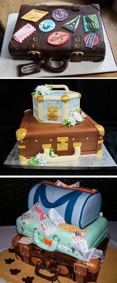 Wedding Shower Cake. Maybe with cruise themes on the suitcases!