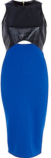 River Island Womens Blue snake panel cut out midi dress