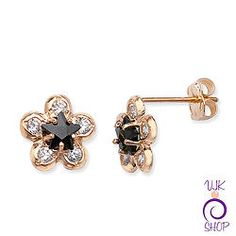 9ct Flower Earrings with Black CZ