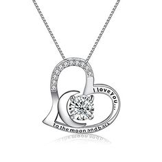 Heart Necklace EngravedI Want  925 Sterling Silver CZ Heart Necklace Gift Heart Heart -- Want to know more, click on the image. (This is an affiliate link) #FashionNecklaces