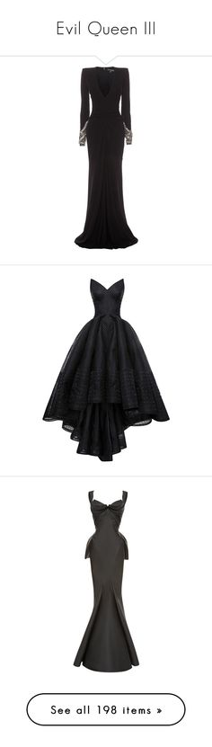 """Evil Queen III"" by cronusstar ❤ liked on Polyvore featuring dresses, gowns, long dresses, alexander mcqueen, black, long sleeve ball gowns, long sleeve black gown, long sleeve black dress, long evening dresses and black gown"