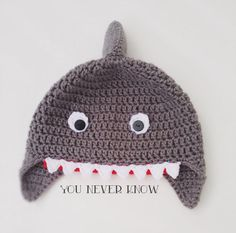 Crochet Shark Hat Newborn Infant Toddler Child by AndreaDanielle, $18.00