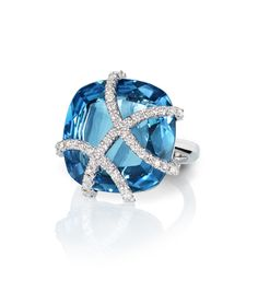 Rachael SARC Cynthia Ring 18kt White Gold Ring with Blue Topaz, White Diamond Pavè 0.42cts
