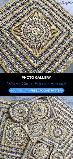 Wheel Circle Square Blanket Crochet See other ideas and pictures from the category menu…. Faneks healthy and active life ideas Crochet Blocks, Granny Square Crochet Pattern, Crochet Squares, Crochet Granny, Crochet Blanket Patterns, Granny Squares, Bag Crochet, Crochet Blankets, Free Crochet