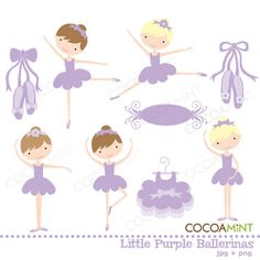 Little Purple Ballerinas Clip Art by cocoamint on Etsy, $5.00