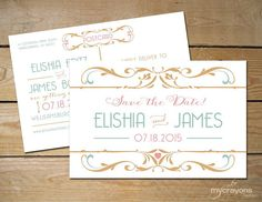 Art Nouveau Romance Wedding Save the Date PostCard // DIY Printable Save the Date // Pink and Gold, Coral and Mint Wedding