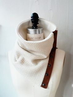 Cream wool and tan leather cowl by System63 on Etsy