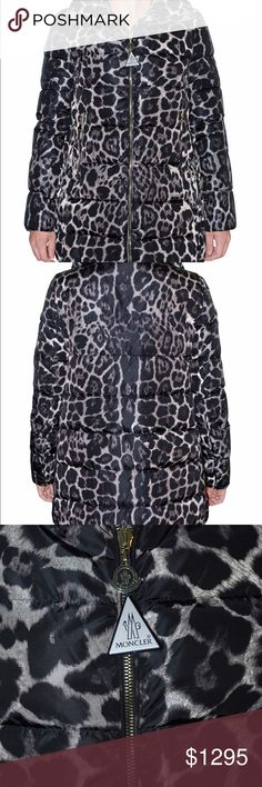 Moncler Women Torcelle Leopard Print Puffer Coat Moncler's leopard-print quilted coat is a cold-weather must. The long length, stand collar and long sleeves are designed to protect you from the elements, while the front zip and front pockets add practicality. Wear yours with all-black separates to showcase the animal print. Self: 100% polyamide. Filling: 90% down 10% feather Dual zip front closure Side zip pockets Moncler Jackets & Coats Puffers