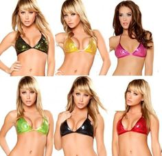 Sexy Roma Triangle Sequined Bikini Top Black, Black/Green, Hot Pink, Lime Green, Purple/Gold, Red, Silver, Turquoise
