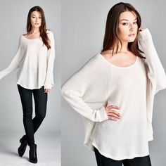 JEANNE Dolman long sleeve top - IVORY Loose fit, long dolman sleeve, round neck raglan top. Rounded hems. This top is made with medium weight brushed thermal knit top that has a very soft fuzzy texture, drapes well and is very warm. This fabric has good stretch. Fabric 49% Polyester, 49% Rayon, 2% Spandex Made in U.S.A Tops Tees - Long Sleeve