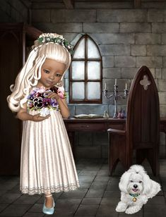 Square Card, Girl Pictures, Puzzles, Cookie, Flower Girl Dresses, Graphics, Wedding Dresses, Sweet, Illustration