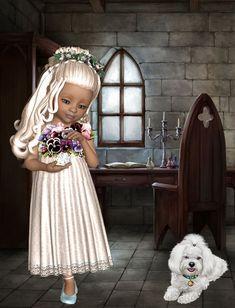 Girls Dresses, Flower Girl Dresses, Square Card, Girl Pictures, Psp, Wedding Dresses, Puzzles, Illustration, Artwork