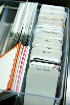 labeled tabs: organizing idea for project life or journaling cards