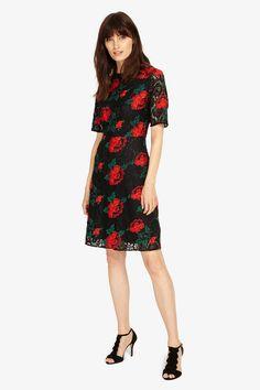 kanten jurk met geborduurde rozen