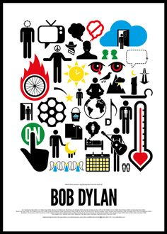Bob Dylan - Using only pictograms, these music posters by Viktor Hertz depict songs of famous rock bands. Each poster tells a little story about the band, very cool.