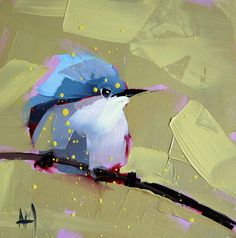 Blue Grey Gnatcatcher no. 4 original bird oil painting by Moulton 6 x 6 inches on panel prattcreekart
