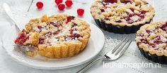 lekkere mini taartjes van kruimeldeeg met verse rode bessen