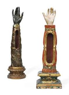 Reliquaries for Sale | TWO SPANISH POLYCHROME AND PARCEL-GILT RELIQUARIES