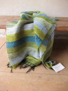 Mohair blanket in blues and greens