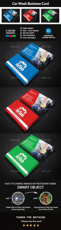 Car Wash Business Card - Creative Business Cards Download here: https://graphicriver.net/item/car-wash-business-card/19956635?ref=classicdesignp