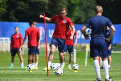 Tottenham Hotspur striker Kane pictured during a drill as England prepare to face Russia in their Euro 2016 opener