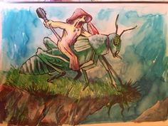 grasshopper rider (watercolor)