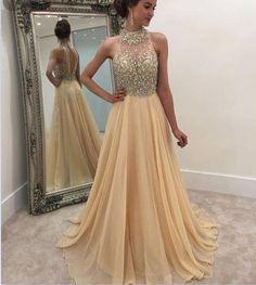 A-line Keyhole Back Beaded Champagne Prom Dresses