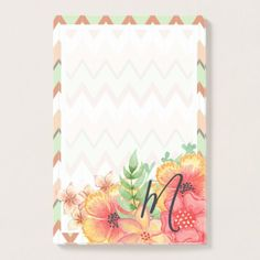 Cute Modern Pretty Floral Blossom On Chevron Motif Post-it Notes - beauty gifts stylish beautiful cool