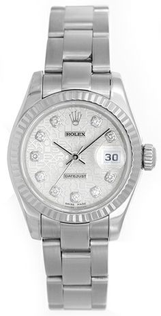 Ladies Rolex President 18k White Gold Watch 179179
