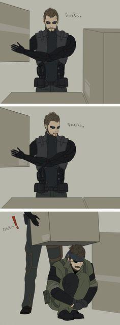Deus Ex/Metal Gear Solid Crossover: Adam Finds Snake Under A Box. X3