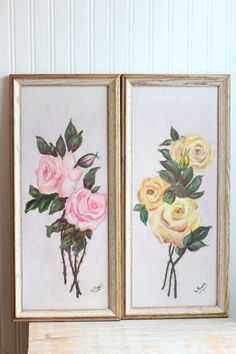 Vintage Pink Yellow Roses Painting - Framed Signed L Shoff