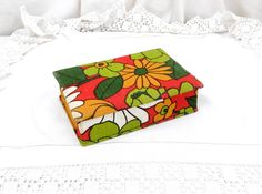 Vintage Retro 1960s Patterned Fabric Covered Wooden Box, French Vintage Decor, Mid Century, Cloth Box, Jewelry Trinket, Gift, Jewellery by VintageDecorFrancais on Etsy