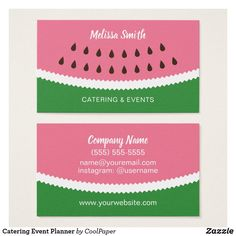 Catering Event Planner Business Card Template - Promote your food service, event planning or catering business with these colorful pink and green abstract watermelon design business cards. Perfect for caterers, personal chefs and party planners. Easily customize with your contact info.